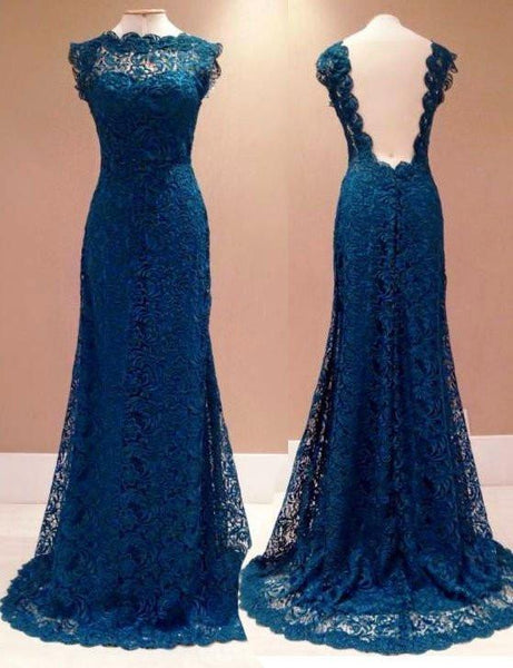 lace prom dress, modest prom dress, long prom dress, cheap evening dress, open back prom dress, BD542