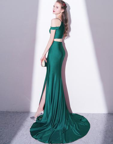 Simple two pieces green long prom dress, high slit evening dress,HS045