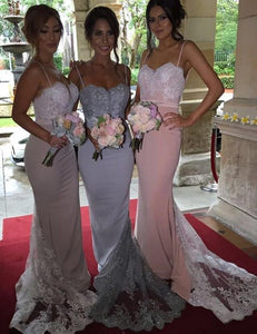 Fashion Bridesmaid Dress,Elegant Bridesmaid Dress,Spaghetti Straps Bridesmaid Dress,Lace Bridesmaid Dress,Mermaid Sexy Bridesmaid Dress, PD49
