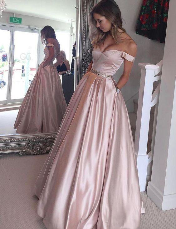 dusty rose prom dress, off shoulder prom dress, long prom dress, A-line prom dress, cheap prom dress, BD6446
