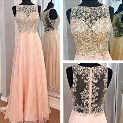 blush pink prom dress, long prom dress, beaded prom dress, evening dress 2018, BD508