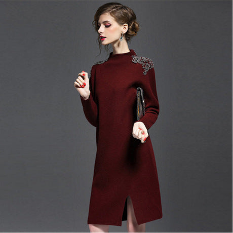 Wool Blend Crewneck Sweater High Neck Long Sleeve Sweater Dresses
