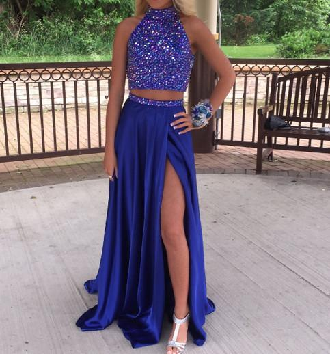 two pieces prom dress, long prom dress, royal blue prom dress, side slit prom dress, formal evening gown, BD40