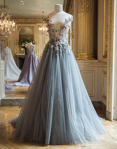 charming beautiful 2017 cap sleeves A-line grey tulle long prom dress, PD4598