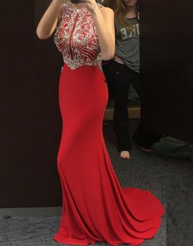 beaded top long red formal prom dress, PD1299