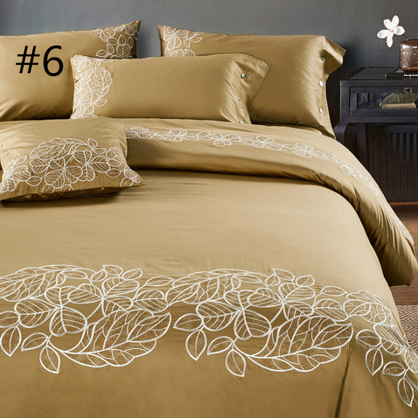 60S Cotton embroidery Plain Solid-Color Bed Clothes Four Piece cotton sheets Bedding 4 sets,CD0002