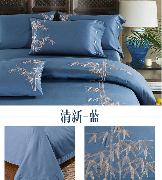 60S Cotton embroidery Plain Solid-Color Bedclothes Four Pieces cotton sheets Bedding 4 sets,CD0002.5