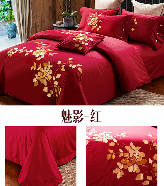 60S Cotton embroidery Plain Solid-Color Bedclothes Four Pieces cotton sheets Bedding 4 sets,CD0002.7