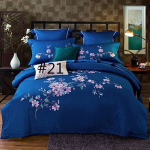 60S Cotton embroidery Plain Solid-Color Bedclothes Four Pieces cotton sheets Bedding 4 sets,CD0002.9