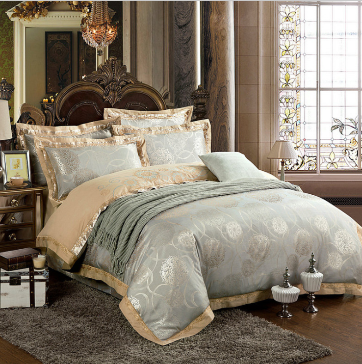 60s Hessian Satin Jacquard Four-Pieces Bedclothes Cotton Sheets Bedding 4 Sets,6 Sets,CD0008.5