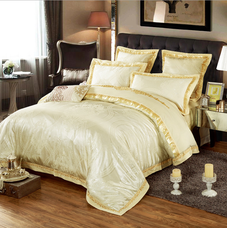 60s Hessian Satin Jacquard Four-Pieces Bedclothes Cotton Sheets Bedding 4 Sets,6 Sets,CD0008.15