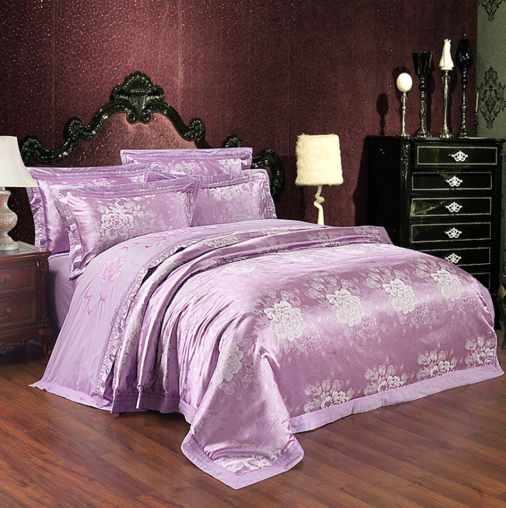 60s Hessian Satin Jacquard Four-Pieces Bedclothes Cotton Sheets Bedding 4 Sets,6 Sets,CD0008.7