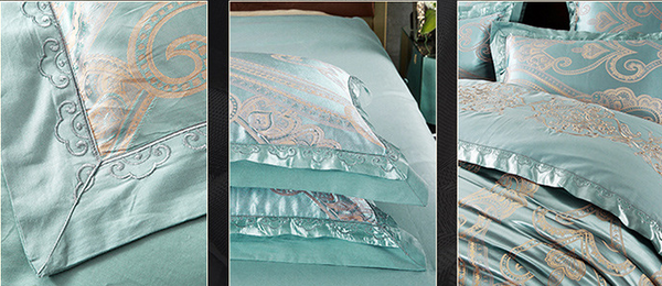 60s Hessian Satin Jacquard Four-Pieces Bedclothes Cotton Sheets Bedding 4 Sets,6 Sets,CD0008.3