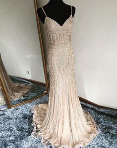 gold sparkle spaghetti straps mermaid long prom dress, PD7658
