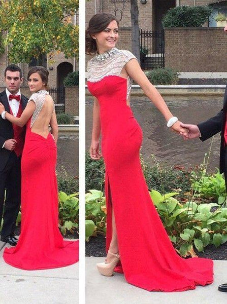 red prom dress, side slit prom dress, formal prom gown, backless prom dress, evening dress 2018, BD269