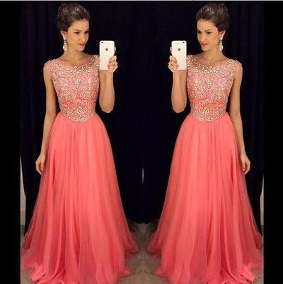 coral prom dress, long prom dress, charming prom dress, beaded prom dress, 2018 prom dress, BD509
