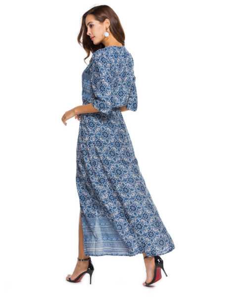 Bohemian Print New Dress V-Neck Beach Dress
