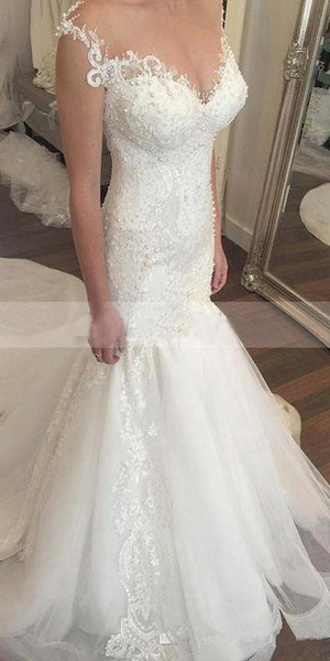 charming long train 2018 white beaded long mermaid lace wedding dress, WD102