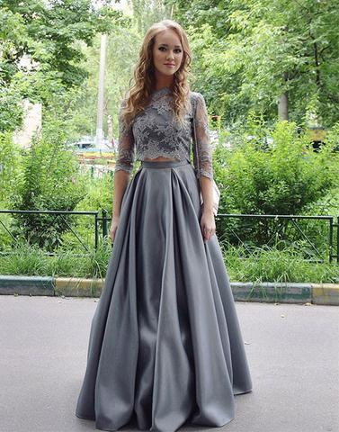 long sleeves two pieces gray lace top floor-length prom dress, PD1307