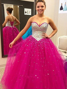 hot pink prom dress, long prom dress, A-line prom dress, sweetheart prom dress, evening gown with rhinestone, BD272