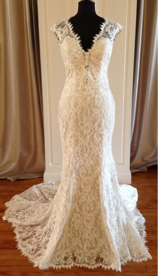 cap sleeves dark ivory v-neck lace mermaid Chapel Train wedding dress, WD108