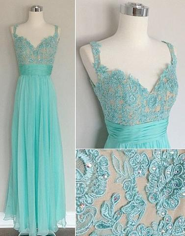 cheap prom dress, blue prom dress, long prom dress, simple prom dress, lace appliques prom dress, BD12645