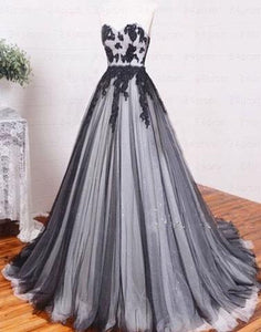 black Sweetheart long A-line lace prom dress, 2017 evening gown, PD1318