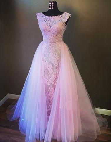 pink A-line long charming prom gown, charming cap sleeves prom dress, PD1311