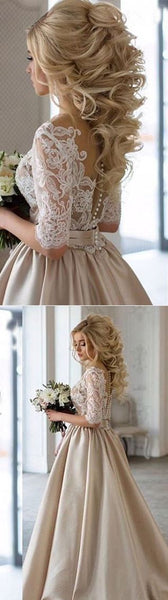 A-Line long prom dress Half Sleeve Satin Wedding Dress with Lace Pleats,HS222