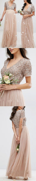 Affordable Short Sleeves Sequin Top Tulle V Neck Long Bridesmaid Dresses,HS194