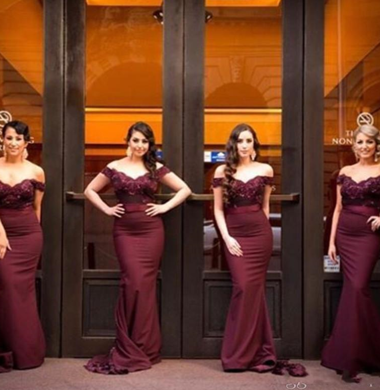 Applique Beaded Bridesmaid Dresses Mermaid Bridesmaid Dresses Off the Shoulder Bridesmaid Dresses
