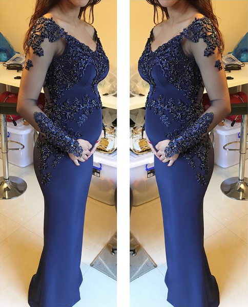 Applique Beaded Long Prom Dresses Backless Evening Dresses Long Sleeve Formal Dresses