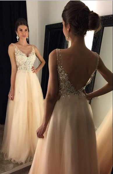 Applique Beaded Long Prom Dresses V-Neck Evening Dresses A-Line V-Back Formal Dresses