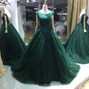 Applique Beading Long Prom Dresses Backless Ball Gowns Tulle Evening Formal Dresses,HS544