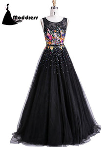 Applique Black Prom Dresses Scoop Floor-length Flower Long Evening Dress,HS318