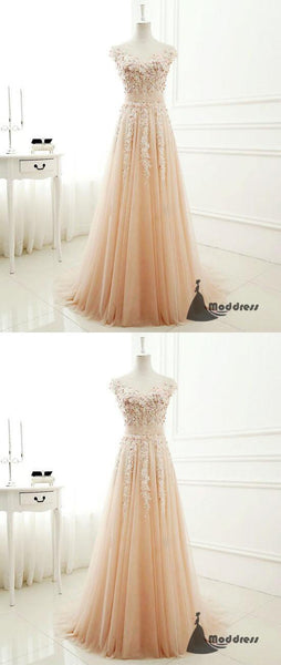 Applique Lace Long Prom Dress Tulle Scoop A-Line Evening Dress Formal Dress,HS462