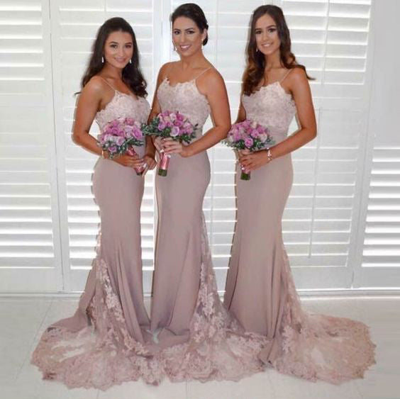 Applique Long Bridesmaid Dresses Mermaid Bridesmaid Dresses Spaghetti Straps  Bridesmaid Dresses
