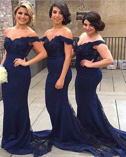 Applique Long Bridesmaid Dresses Mermaid Evening Dresses Off the Shoulder Formal Dresses