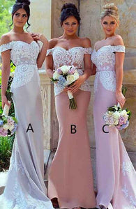 Applique Long Bridesmaid Dresses Off the Shoulder Bridesmaid Dresses Mermaid Prom Dresses