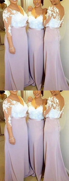 Applique Long Bridesmaid Dresses V-Neck Bridesmaid Dresses V-Back Bridesmaid Dresses