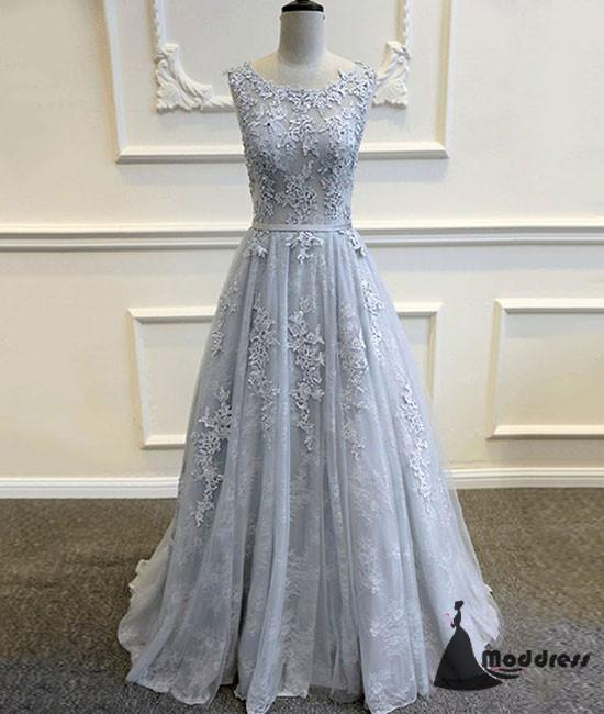 Applique Long Prom Dress Lace A-Line Grey Evening Dress Scoop Formal Dress,HS474