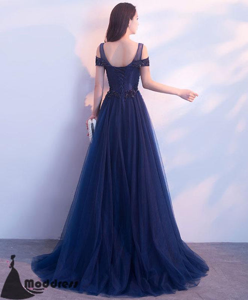 Applique Long Prom Dress Off the Shoulder Tulle Evening Dress A-Line Formal Dresses