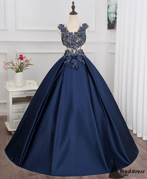 Applique Long Prom Dress Satin A-line Evening Dress Sleeveless Formal Dress,HS499