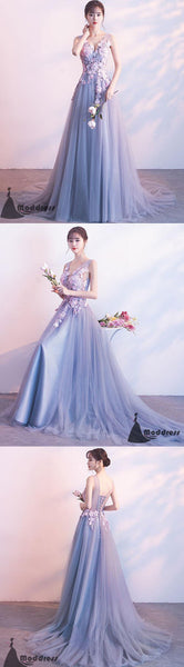 Applique Long Prom Dress V-Neck Evening Dress Tulle A-Line Formal Dress,HS513