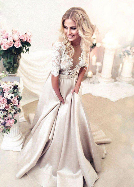 Applique Long Prom Dresses Half Sleeve Satin Evening Dresses A-Line Formal Dresses