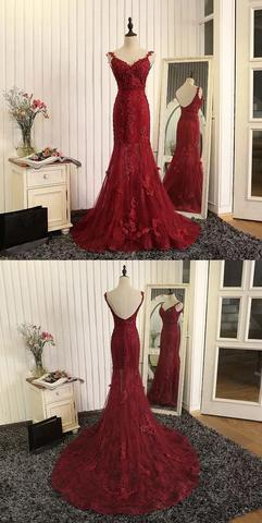 Applique Long Prom Dresses Mermaid Backless Evening Dresses Spaghetti Straps Formal Dresses