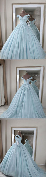 Applique Long Prom Dresses Off the Shoulder Evening Formal Dresses Blue Tulle Ball Gowns