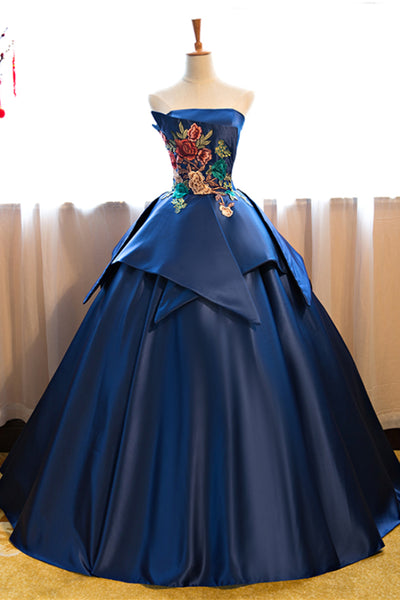 Applique Long Prom Dresses Strapless Evening Formal Dresses Elegant Ball Gowns