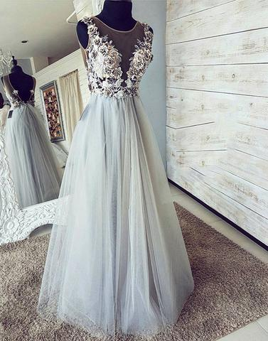 Applique Long Prom Dresses Tulle A-Line Evening Dresses Backless Formal Dresses