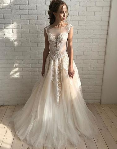 Applique Long Prom Dresses Tulle Evening Dresses A-Line Formal Dresses